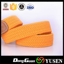 NEW Mens Club Room Yellow Stretch Fabric Belt with Brown Leather 42