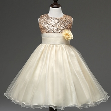 2017 Girl Dress Sequins Pageant Party Baby Kids Clothing Flower Baby Girl Christening Gowns For Princess Toddler Girls Clothes