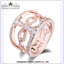 Best price customized simple micro pave zircon rose gold silver 925 new model ring for gift