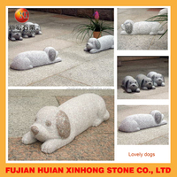 Life size Tummy sleeping foo dog stone statue for yard decoration