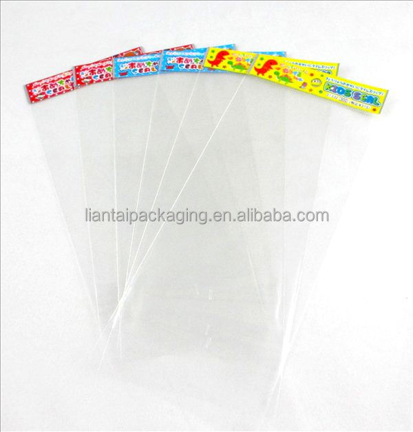 Custom printed logo transparent cellophane poly bag with header