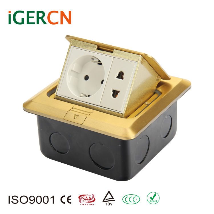 Elegant design EU style pop-up floor socket box with high quality HGD-2F