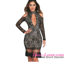 Bodycon Dresses Amazon 2017 Hot Black Premium Lace Tassel Detail Long Sleeve Dress