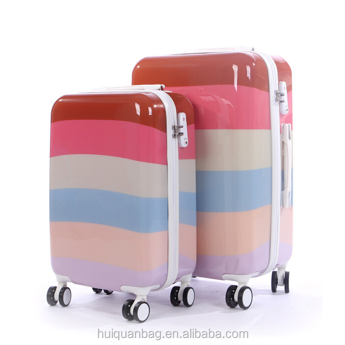 New style popular girl luggage lovely trolley rainbow ABS luggage