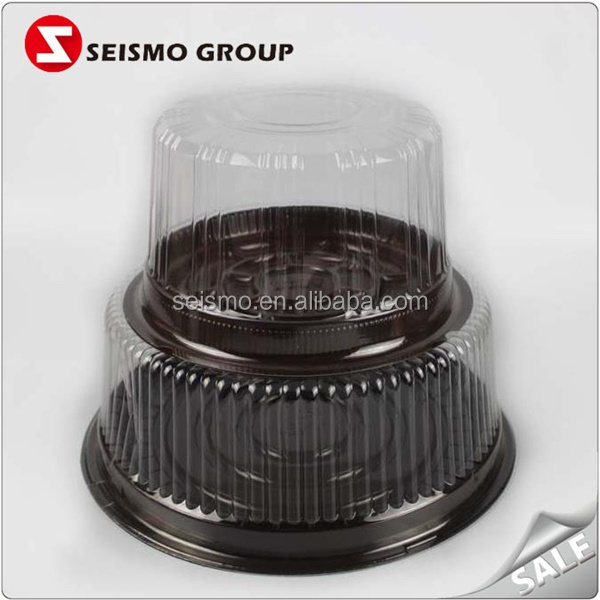 Round Plastic Cake Packaging Container with Lid