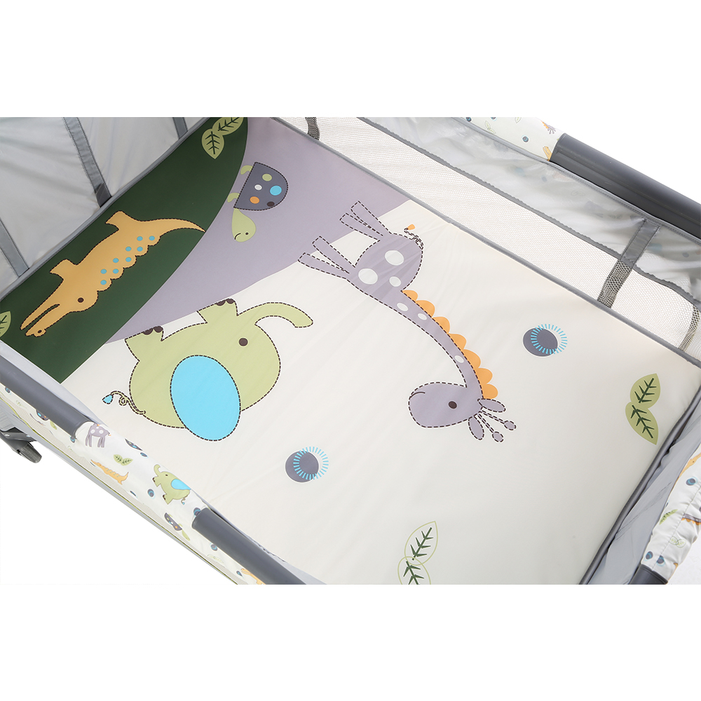 Metal frame baby bed travel cot luxury baby playpen with toys 411 <strong>D</strong>