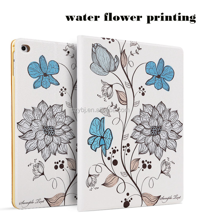 Fashion color printing 2017 flip PU Leather smart cover stand pad case for ipad mini air