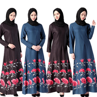 Long sleeve dubai kaftan islamic abaya dress digital print winter dresses women