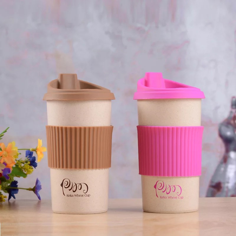400ML Eco-Friendly Wheat Fiber <strong>Cup</strong> With Strew Biodegradable Mug Tumbler for Water, Coffee, Milk,Tea