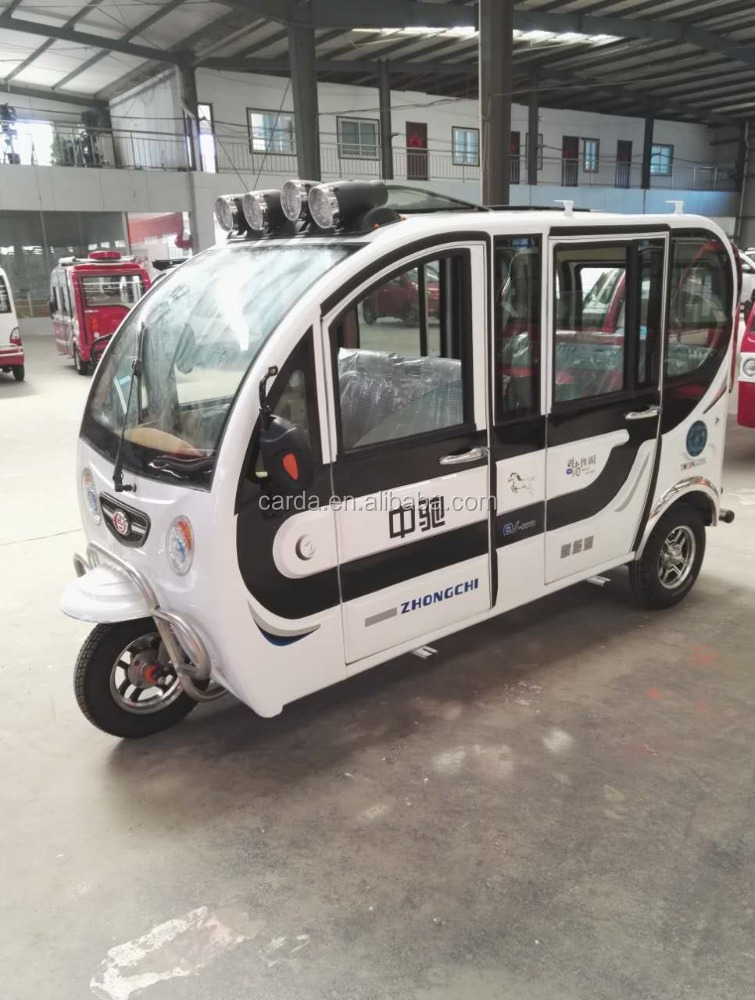 Commercial Enclosed luxury 3 wheeler Electric rickshaw with top luggage For Passenger/used for family