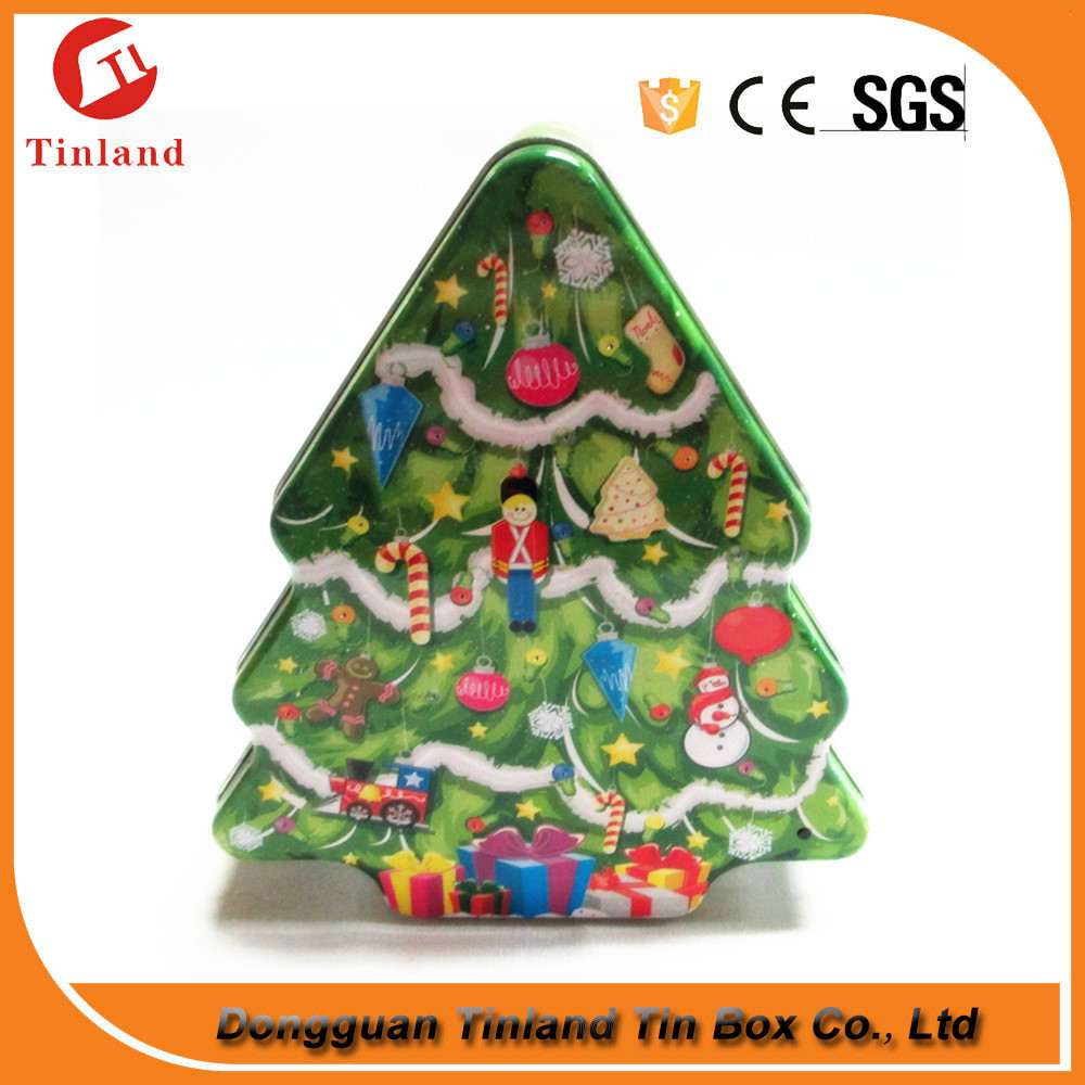 tree shaped empty christmas toy tin packaging box
