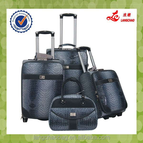 2015 New Material Beautiful Design PU Leather Wholesale Classical Low Price Luggage Sets
