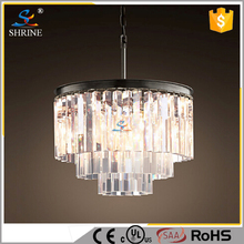 Three Layer Glass Bar Of Golden Crystal Lamp Pendant Lamp