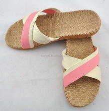 Low price comfortable soft lady flax sandal ladies slipper