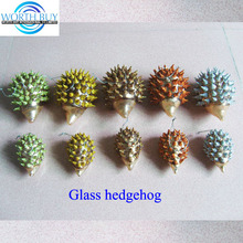 Glass hedgehog Christmas ornaments for Christmas decoration w/ 5 colors & 2 sizes