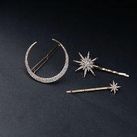 Girl Jeweled Accessory High Quality Personality Metal Star Moon Hair Clip Set