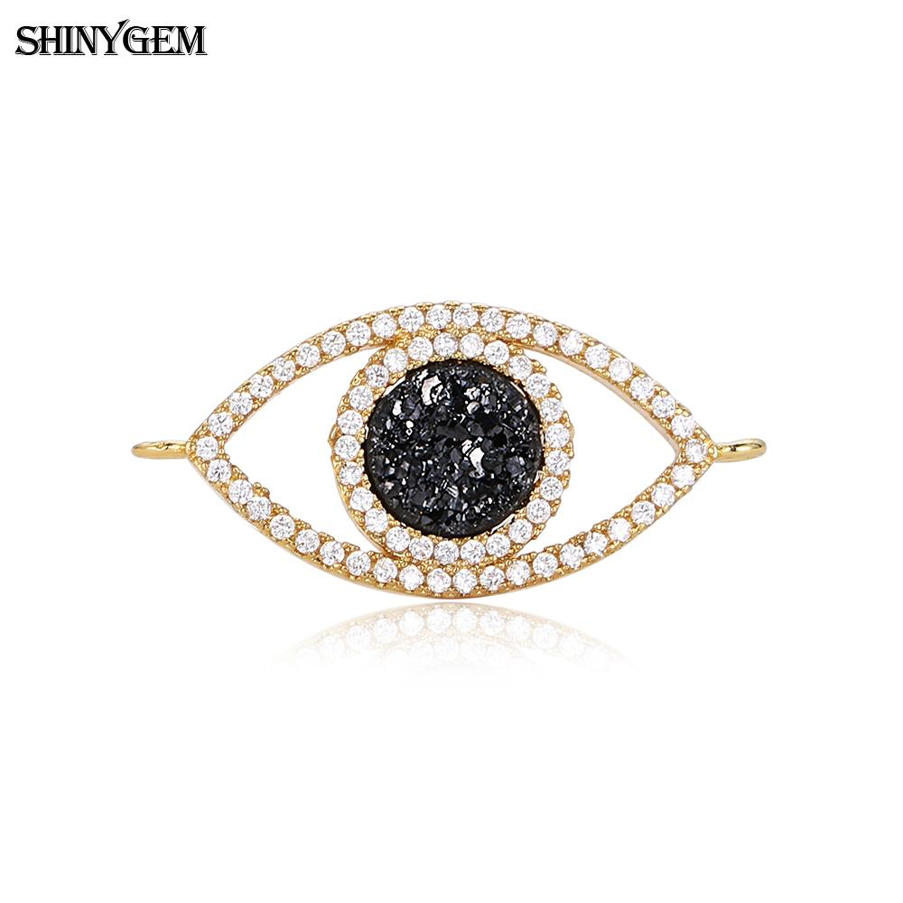 Marquise evil eyes mirco pave zircon accessories jewellery natural druzy stone charm pendant for jewelry making