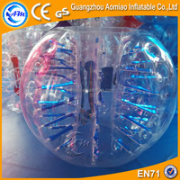 Newest design fluorescent type human sized soccer bubble ball/inflatable bumper ball/zorb ball rental