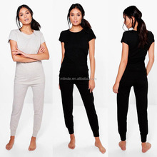 Plain Pima Cotton Blank Tracksuit Wholesale Tee And Jogger Basic Lounge Set New Design Track Suit For Women