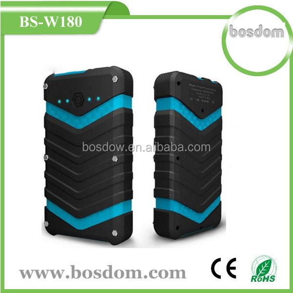 BS-W180 18000Mah IP67 Waterproof /Dropproof /Dustproof Dual USB Output waterproof power bank for laptop
