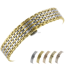 16 18 20 22mm Solid Stainless Steel Wrist Watch Straps Band With Push Double Button Butterfly Buckle