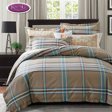 High quality modern style bedding set check pattern single cotton duvet cover set, comfortable and soft