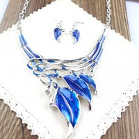 Leaves fashion enamel vintage necklace and earrings chain bridal jewelry sets