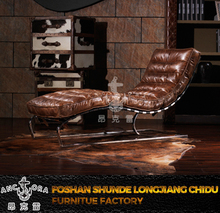 Leather Chaise With Modern Design For Home Furniture with stainless steel K625