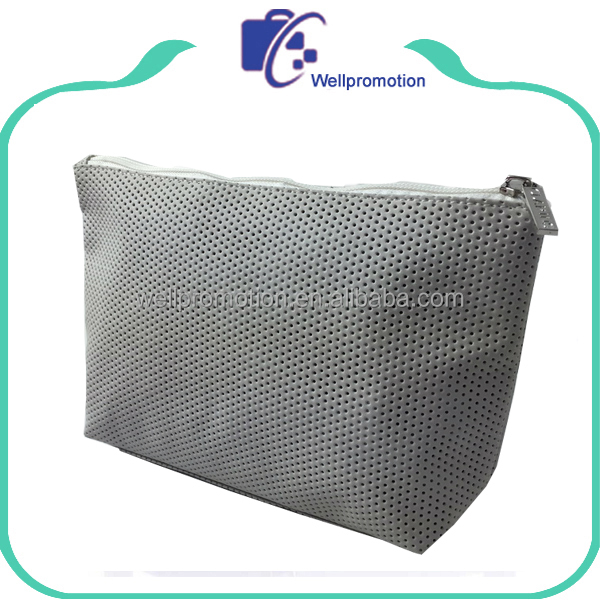PVC leather dots cosmetic bag with zipper