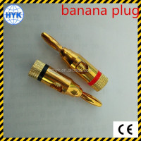 Gold plated bullet banana connector plug, brass battery connector