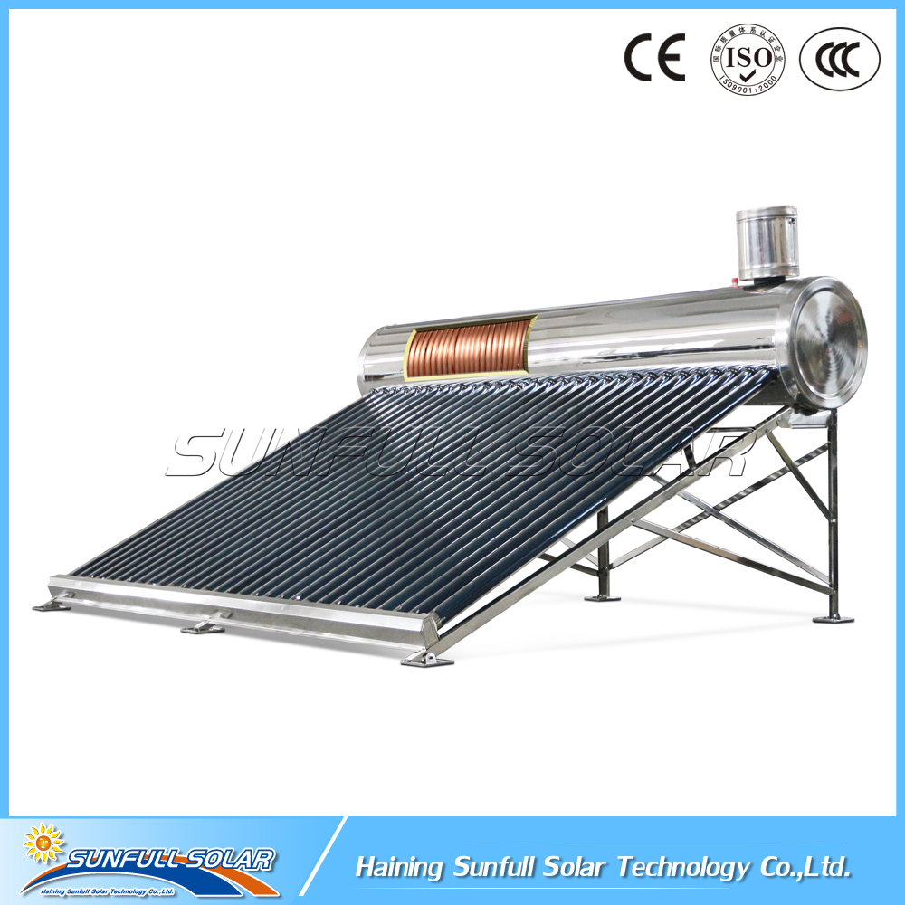 25 Degree pre-heated copper coil solar water heater with feeder tank