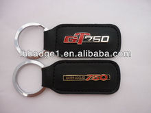 2014 Promotional cheap metal and leather keychain