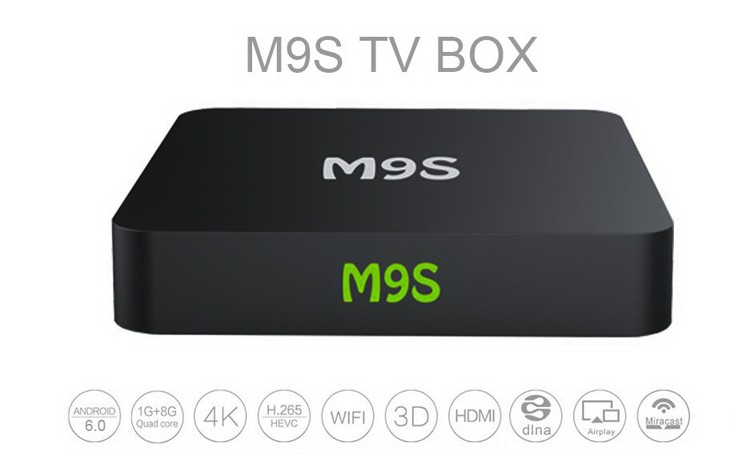 M9S android 6.0 OS Amlogic S905X quad-core A53 1G/8G WiFi XBMC Miracast kodi17.0 1000M Cable Network ott tv box