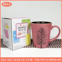 mug box with window fashion color gift box ceramic stoneware coffee beer pink mug with double glaze and unique bump tree handle