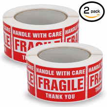 Custom Any size Handle With Care Fragile Thank You, Red Warning Shipping Label Stickers