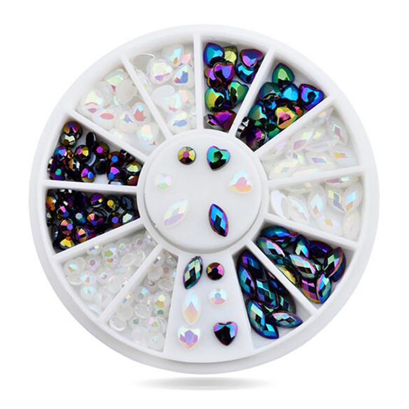 Hot sale heart Jet AB designs nail charms decoration in Wheels NJ022