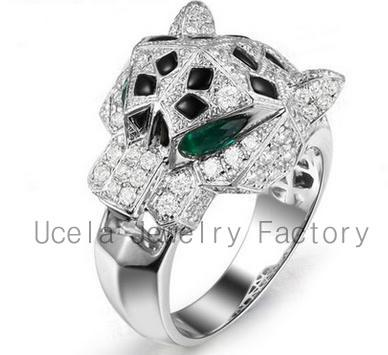 Factory Direct Sale High-tech Micro Pave silver cz wholesale poison ring
