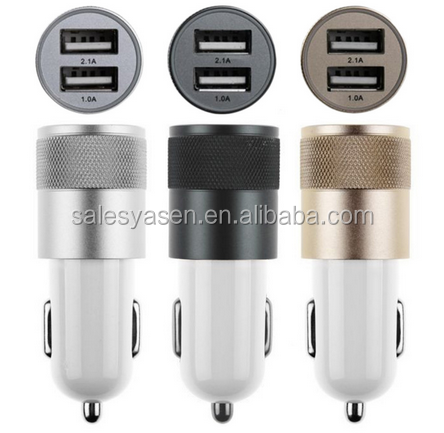 12V 3.1A Aluminum material Bullet 2 Port Smart USB Car Charger For Iphone 56 and For Samsung