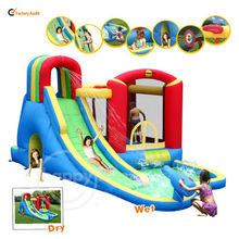 Happy Hop Inflatable Wet Dry Bouncers with Slide Pool-9047 Inflatable Mega Slide and Pool Fun Park