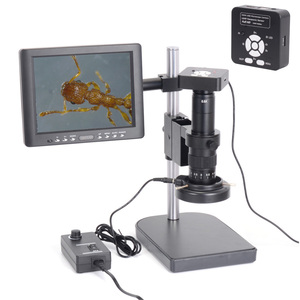 "Full Set 16MP HDMI USB Digital Industrial Microscope Camera with 180X Zoom C-mount Lens 60 LED Light Microscope 8"" LCD Screen"