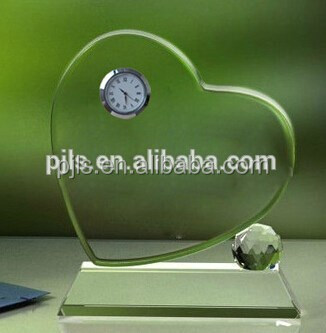 clock crystal heart shape trophy, clock award, clock plaque