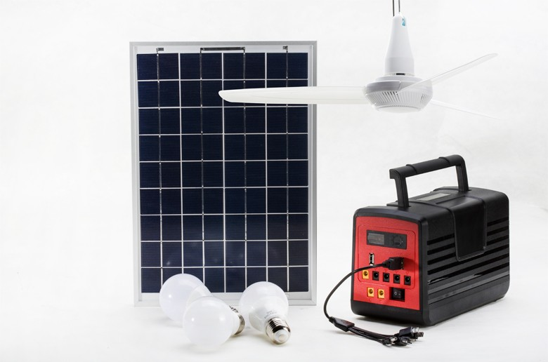10W/18V power solar panel solar home lighting system with big cooling ceiling fan