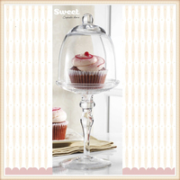 mini cake stand with glass bell jar dome