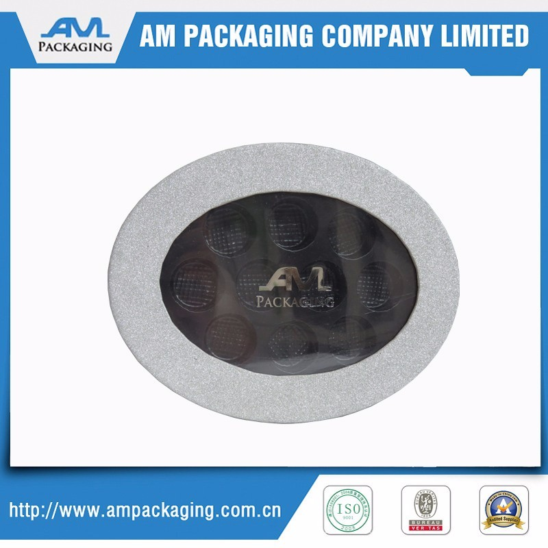 Food grade white oval shape paper plastic foam chocolate packaging box with window