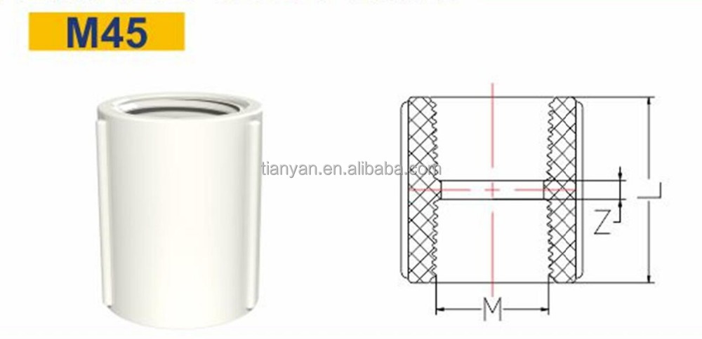 TY China Manufacturer PVC/ UPVC BS plastic pipe fittings Female thread socket flexible coupling for bathroom Water supply