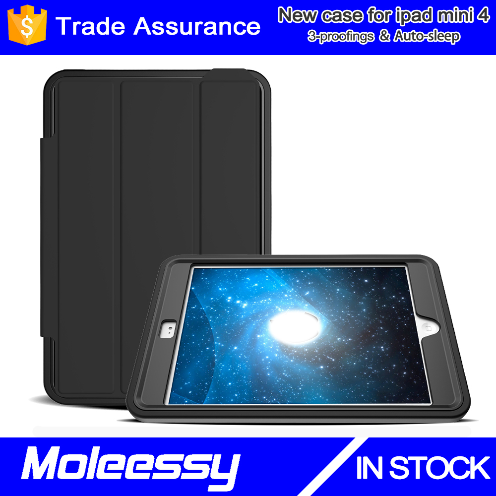 For Apple iPad Mini 4 Slim-Fit Folio Smart Case Cover with Auto Sleep/Wake for Apple New for iPad Mini 4 Released on 2015