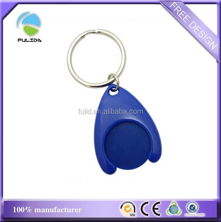 Custom Hard Plastic ABS Blue Blank Trolley Coin A Shape Holder Keychain