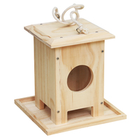 Good quality china factory custom new design wooden bird house for animal Natural Solid Wooden bird cage