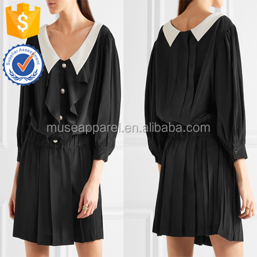 Two-Tone Pleated Satin Black & White Mini Women Dress OEM/ODM Women Apparel Clothing Garment Wholesaler