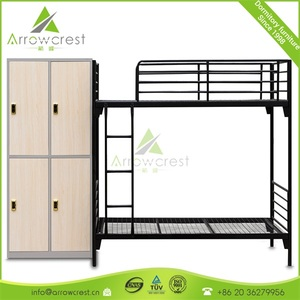 Customized metal bunk bed with lockers hostel furniture